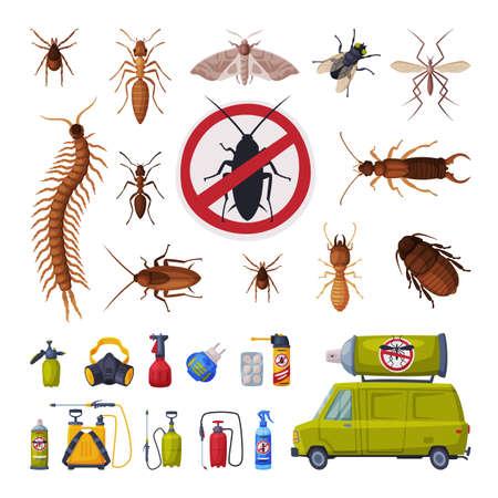 Pest Control Service Set, Harmful Insects Exterminating and Protecting Equipment Vector Illustration Vektoros illusztráció