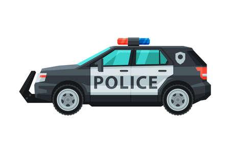 Police SUV Car, Emergency Patrol Off Road Vehicle Flat Vector Illustration Vektorové ilustrace