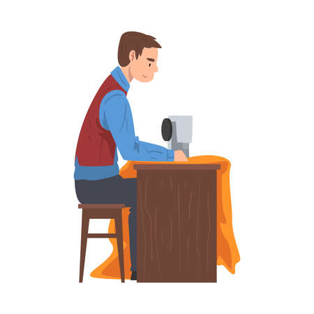 Dressmaker Sewing Clothes by Sewing Machine, Male Clothing Designer Tailor Working at Atelier, Man Sewer Create Outfit Vector Illustration