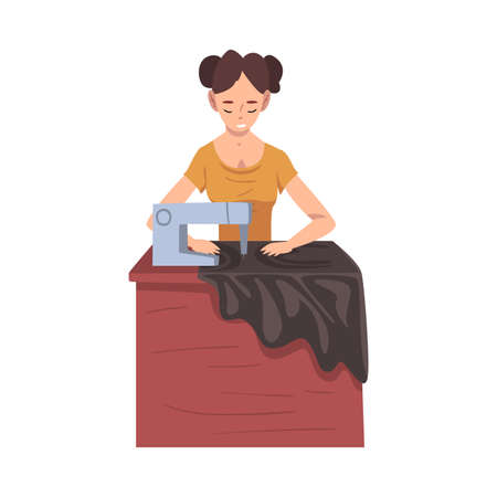 Seamstress Sewing Clothes by Sewing Machine, Female Clothing Designer Tailor Working at Atelier Vector Illustration