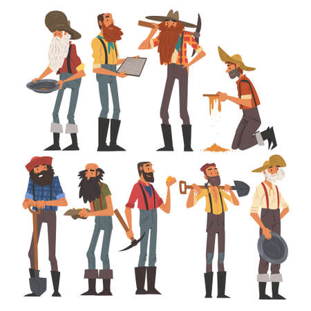 Male Prospectors Characters Set, Bearded Gold Miners Characters Wearing Vintage Clothes with Tools for Gold Nuggets Mining Cartoon Style Vector Illustration Иллюстрация