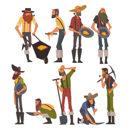 Male Prospectors Characters Set, Bearded Gold Miners Wild West Characters Wearing Vintage Clothes with Tools Cartoon Style Vector Illustration