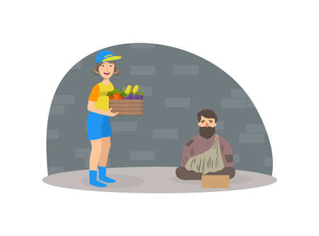 Male Volunteer Bringing Food to Homeless Woman, Volunteering, Charity, Supporting People Concept Vector Illustration 일러스트