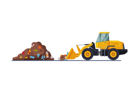 Yellow Modern Bulldozer for Garbage Cleaning, Heavy Special Landfill Machinery, Waste Transportation and Recycling Concept Flat Style Vector Illustration