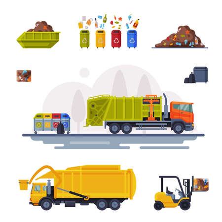 Garbage Disposal Set, Processingof Waste from Collection to Recycling Flat Vector Illustration Ilustração Vetorial