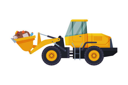 Yellow Modern Bulldozer with Garbage, Heavy Special Machinery for Landfills, Waste Transportation and Recycling Concept Flat Style Vector Illustration Illustration