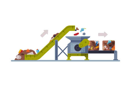 Waste Sorting and Separating Plant with Conveyor Line Flat Style Vector Illustration on White Background