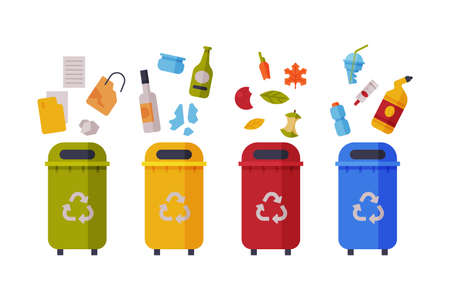 Waste Sorting, Set of Different Colorful Trash Bins with Sorted Garbage, Paper, Glass, Organic, Plastic Kinds of Trash Flat Style Vector Illustration Vettoriali