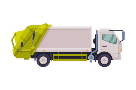 Modern Garbage Truck, Urban Heavy Sanitary Vehicle, Waste Recycling Concept Flat Style Vector Illustration on White Background