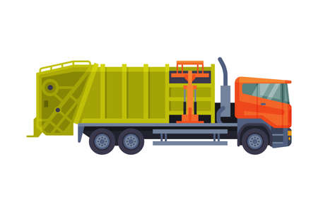 Urban Garbage Truck Sanitary Vehicle, Waste Collection, Transportation and Recycling Concept Flat Style Vector Illustration