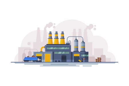 Waste Processing Factory Industrial Building, Garbage Collection, Separation and Recycling Concept Flat Style Vector Illustration Vectores