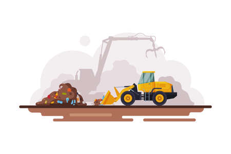 Yellow Bulldozer for Garbage Cleaning, Waste Recycling Process Flat Style Vector Illustration on White Background