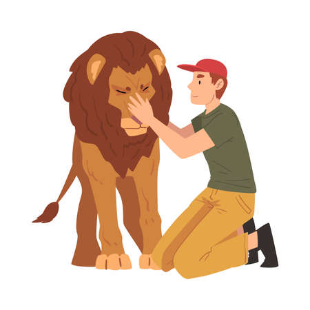 Male Zoo Worker Stroking Lion, Veterinarian or Professional Zookeeper Character Caring of Wild Animals in Zoo Cartoon Vector Illustration