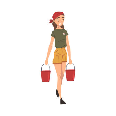 Female Zoo Worker Carrying Two Buckets of Water, Volunteer or Zookeeper Character in Uniform Caring of Wild Animals in Zoo Cartoon Vector Illustration Иллюстрация