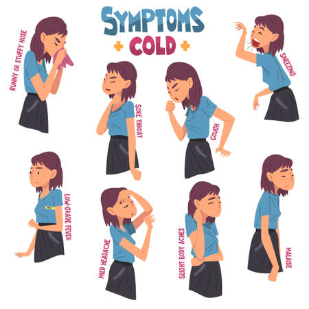 Cold Symptoms Set, Gitl Having Cough, Malaise, Runny Nose, Sore Throat, Slight Body Aches, Medical Treatment and Healthcare Concept Cartoon Style Vector Illustration