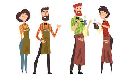 Barista Characters Set, Cafe Staff in Uniform Making Coffee Cartoon Style Vector Illustration Ilustracja