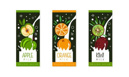 Fruit Milk Packaging Label Design Set, Apple, Orange, Kiwi Natural Organic Fresh Healthy Dairy Products Cartoon Style Vector Illustration