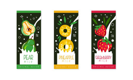 Fruit and Berries Milk Packaging Label Design Set, Pear, Pineapple, Strawberry Natural Organic Fresh Healthy Dairy Product Cartoon Style Vector Illustration Illustration