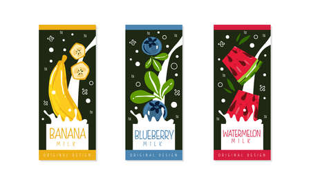 Fruit and Berries Milk Packaging Label Design Set, Banana, Blueberry, Watermelon Natural Organic Fresh Healthy Dairy Product Cartoon Style Vector Illustration Illustration