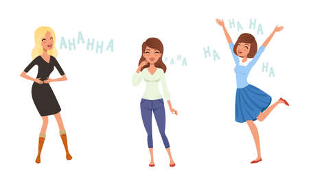 Happy Young Women Laughing Set, People Positive Emotions Cartoon Style Vector Illustration