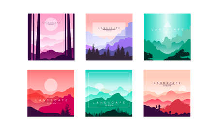 Beautiful Mountain Landscape in Different Times of Day Set, Summer Nature Scenery for Poster, Banner, Flyer or Cover Vector Illustration Vektorgrafik
