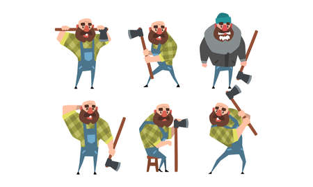 Bearded Lumberjack in Different Poses Holding Axe in his Hands, Strong Woodcutter Cartoon Character Style Vector Illustration Ilustración de vector