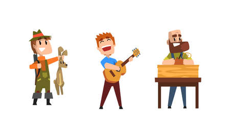 Male Creative Occupation Set, Hunter, Guitarist Musician, Carpenter, Cartoon Style Vector Illustration Vektorgrafik