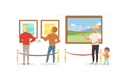 Exhibition Visitors Viewing Paintings at Art Exhibition Gallery or Museum Cartoon Style Vector Illustration 矢量图像