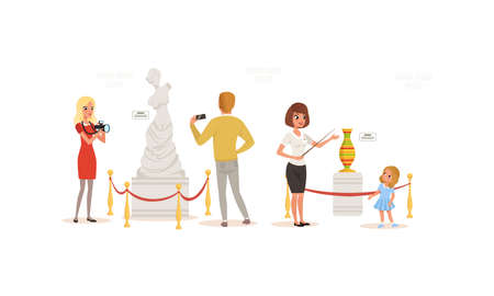 Visitors and Guide in Art Museum, People Admiring Sculpture and Vase Cartoon Style Vector Illustration Vector Illustration