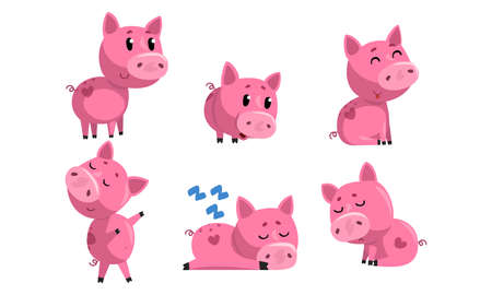 Cute Piglets Collection, Cute Funny Pink Pigs Cartoon Characters in Different Poses Vector Illustration