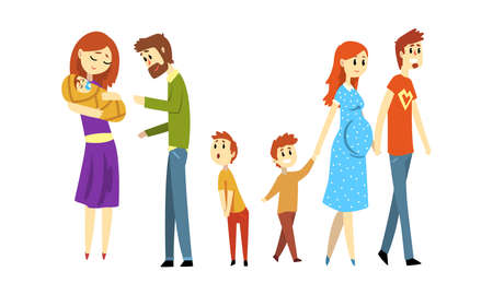 Happy Families Expecting Babies Set, Couple with Newborn Baby, Family Expecting their Second Child Cartoon Style Vector Illustration  イラスト・ベクター素材