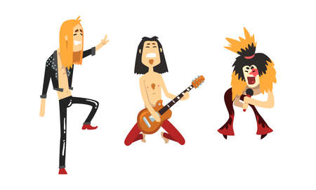 Funny Rock Musicians Characters Set, Heavy Metal Band Members Playing Guitar and Singing Cartoon Style Vector Illustration Ilustración de vector