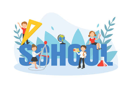 School Big Word with Kids Studying with Huge School Supplies, Back to School Concept Vector Illustration Illustration