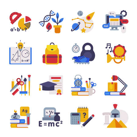 School Subjects Supplies Set, Education Symbols, Schooling and Learning Elements, Back to School Concept Flat Style Vector Illustration