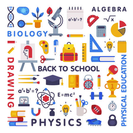 Set of Education and Science Disciplines with Related Elements, School Subjects, Back to School Concept Flat Style Vector Illustration
