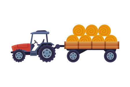 Tractor with Hay Bales in Cart Agricultural Machinery Cartoon Illustration on White Background