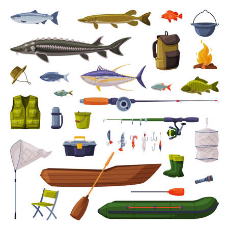 Fishing Equipment Set, Freshwater Fishes, Rod, Apparel, Boat, Accessories Cartoon Vector Illustration