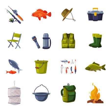 Fishing Equipment Set, Fishing Rod, Backpack, Vest, Thermos, Flashlight, Bucket, Bonfire, Rubber Boots Cartoon Illustration