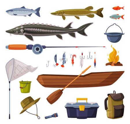 Fishing Equipment Set, Freshwater Fishes, Fishing Tools, Apparel, Boat, Accessories Cartoon Illustration