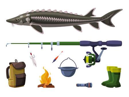 Fishing Equipment Set, Sterlet Freshwater Fish, Fishing Rod, Backpack, Bucket, Bonfire, Rubber Boots Cartoon Illustration Vectores