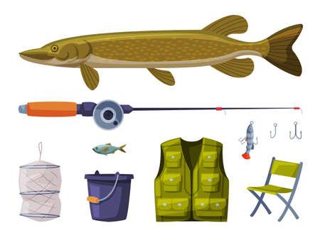 Fishing Equipment Set, Pike Fish, Rod, Apparel, Folding Chair, Cylindrical Net, Bucket Cartoon Illustration