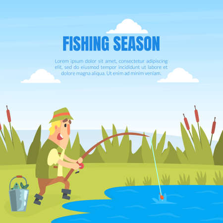 Fishing Season Banner Template, Funny Fisherman Character Standing on Lake Shore and Catching Fish with Rod Cartoon Vector Illustration Ilustração