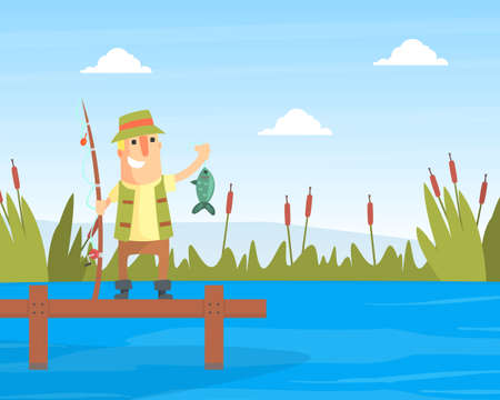 Happy Fisherman Character Standing on Wooden Pier Holding Fishing Rod with Caught Fish Cartoon Vector Illustration