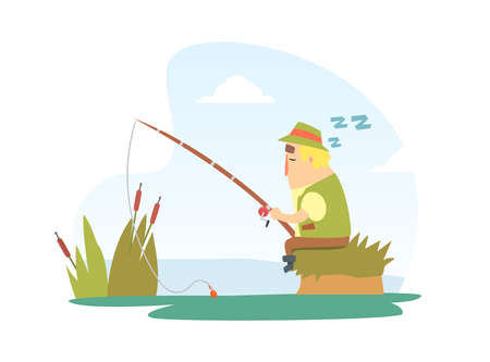 Fisherman Snoozing Sitting on Lake Shore with Fishing Rod Cartoon Vector Illustration