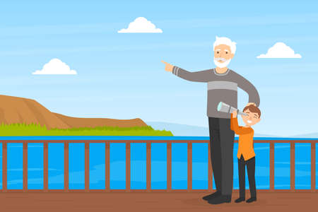 Grandfather Walking with his Grandson in Park, Boy Looking through Spyglass, Elderly Man Spending Time with his Grandchild Cartoon Vector Illustration Vectores
