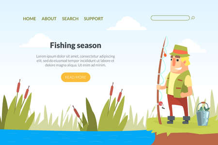 Fishing Season Landing Page Template, Funny Fisherman Character Standing on Lake Shore with Fishing Rod Cartoon Vector Illustration