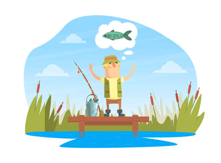 Funny Fisherman Character Standing on Wooden Pier and Dreaming to Catch Big Fish Cartoon Vector Illustration
