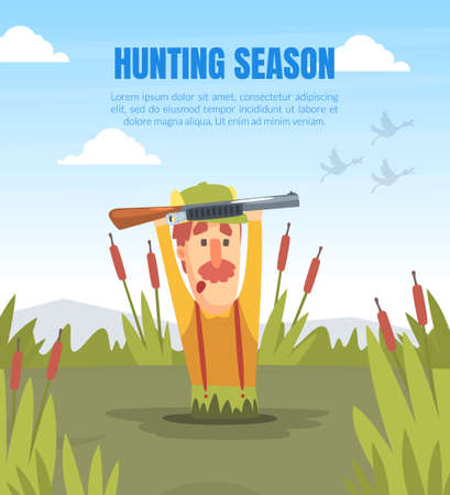 Hunting Season Banner Template with Funny Man Hunter Character Drowning in Swamp Cartoon Vector Illustration
