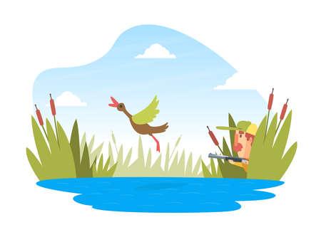 Man Hunter with Shotgun Hunting Ducks in Ambush, Funny Hunter Character Wearing Khaki Clothes and Hat with Rifle Cartoon Vector Illustration Ilustração