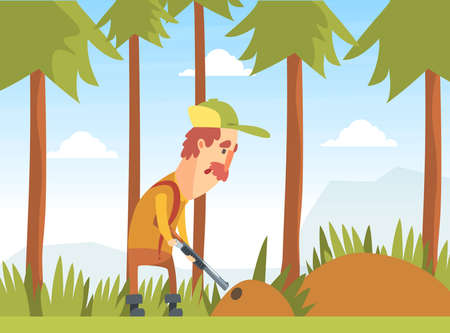 Man Hunter Aiming with Shotgun into Burrow, Funny Hunter Character Wearing Khaki Clothes and Hat with Rifle Cartoon Vector Illustration